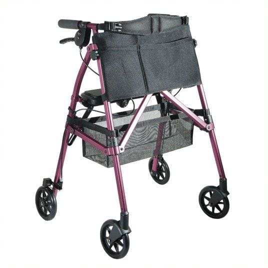 EZ Fold-N-Go Folding Rollator Walker in rose