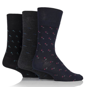 mens bamboo non binding socks in suit pattern