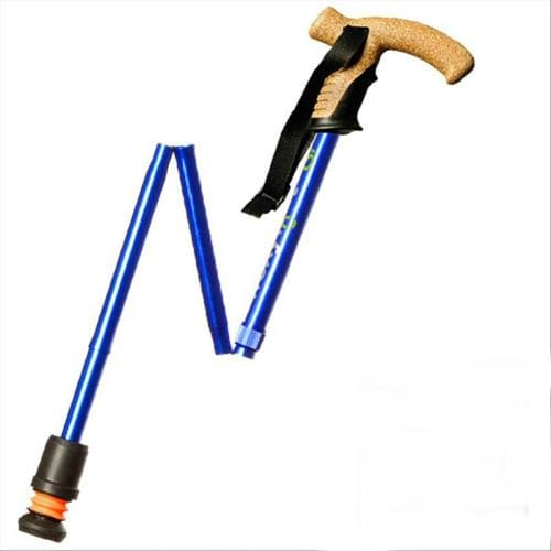 Flexyfoot Cork Handle Folding Walking Cane in Black or Blue - Blue - Cane