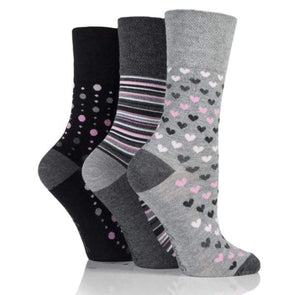 Non Binding Bamboo Socks for Women in Grey Heart Stripe & Dot - Hearts Dots & Stripes - Diabetic Socks