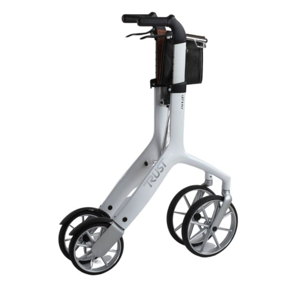 folded white let's fly rollator walker