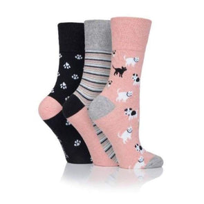 Non Binding Socks For Women In Pet Prints With Cats & Dogs - Pet Prints - Diabetic Socks