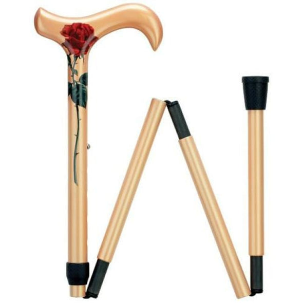 Red Rose Adjustable Folding Carbon Fiber Cane - Cane