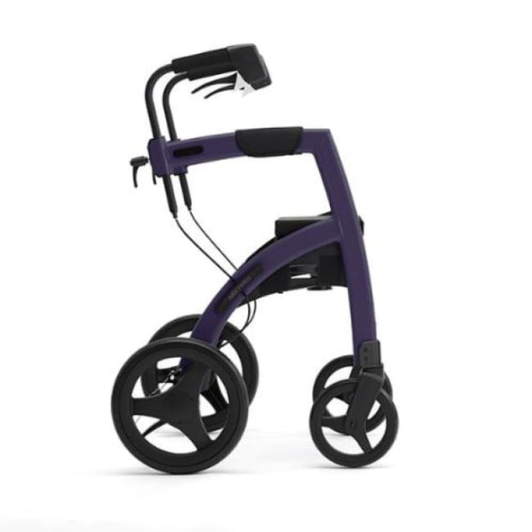 The New Rollz Motion 2 - Rollator Walker And Transport Chair In One - Regular / Dark Purple - Rollator