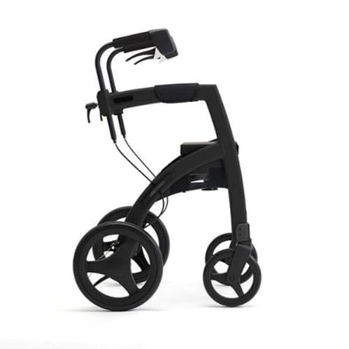 The New Rollz Motion 2 - Rollator Walker And Transport Chair In One - Regular / Matte Black - Rollator