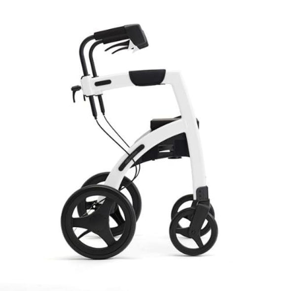 The New Rollz Motion 2 - Rollator Walker And Transport Chair In One - Regular / Pebble White - Rollator