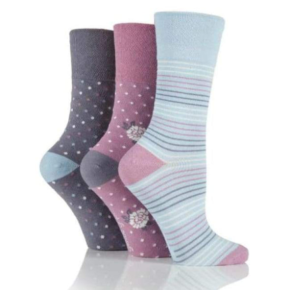 Non Binding Socks For Women In Dainty Flower - Dainty Flower - Diabetic Socks