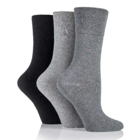 Non Binding Socks For Women In Grey Charcoal & Black - Grey Charcoal & Black - Diabetic Socks
