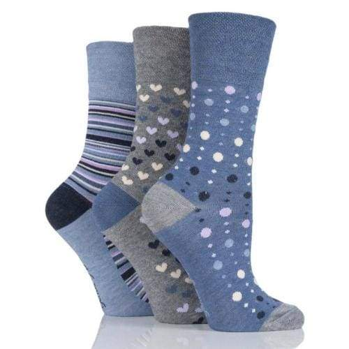 Non Binding Bamboo Socks for Women in Denim Heart Stripe & Dot - Diabetic Socks