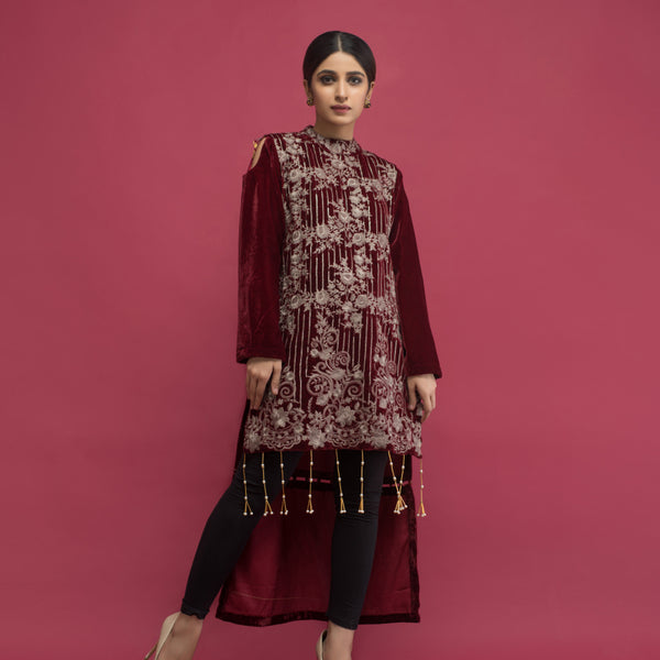 Haniyas, Panache Embroidered Velvet Kurti VOL 2 - Design 3