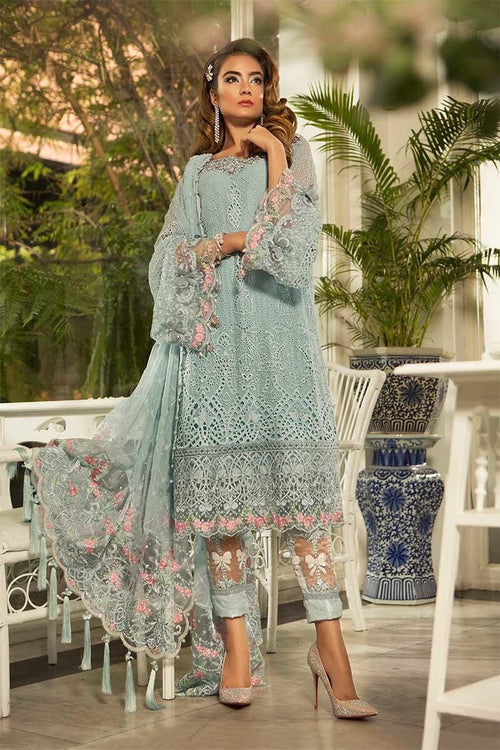 Haniyas, Maria B Mbroidered Eid - BD107 Powder Blue