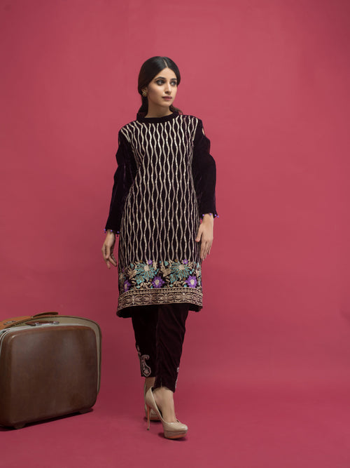Haniyas, Panache Embroidered Velvet Kurti VOL 2 - Design 8