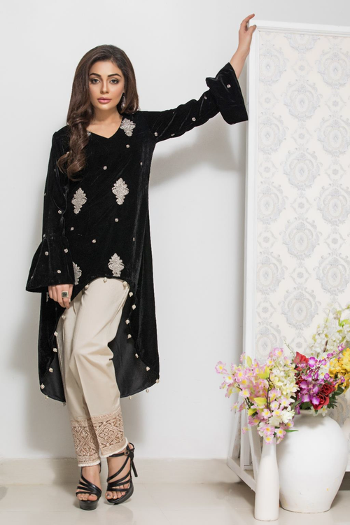 Panache Embroidered Velvet Kurti - Design 1