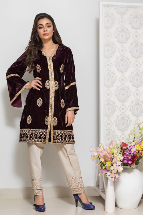 Panache Embroidered Velvet Kurti - Design 3