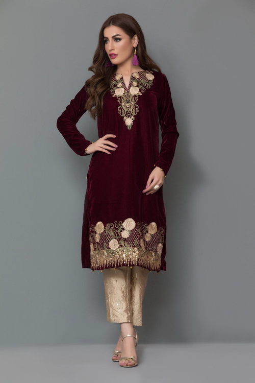 Panache Embroidered Velvet Kurti - Design 4