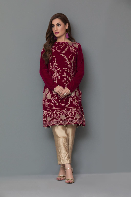 Panache Embroidered Velvet Kurti VOL 2 - Design 4