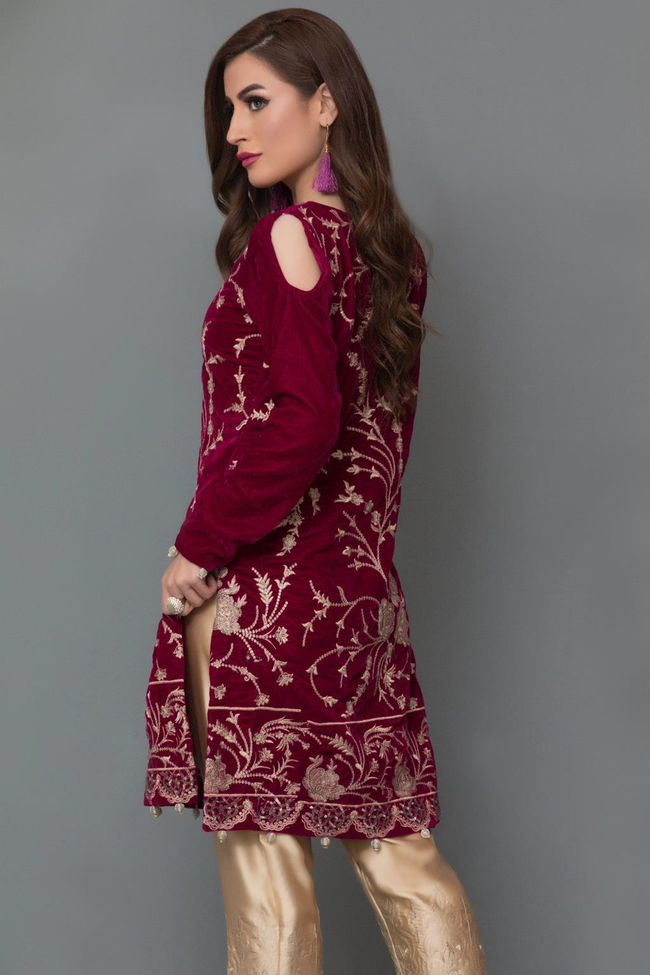 Panache Embroidered Velvet Kurti - Design 5