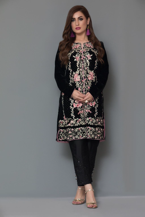 Panache Embroidered Velvet Kurti - Design 6