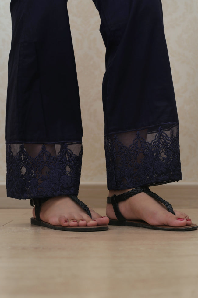 Haniyas, Bootcut Embroidered Trouser | Navy