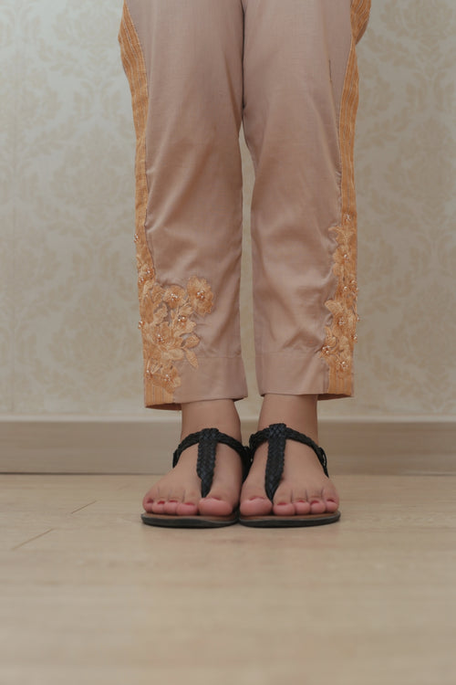 Haniyas, Embroidered Trouser | Beige