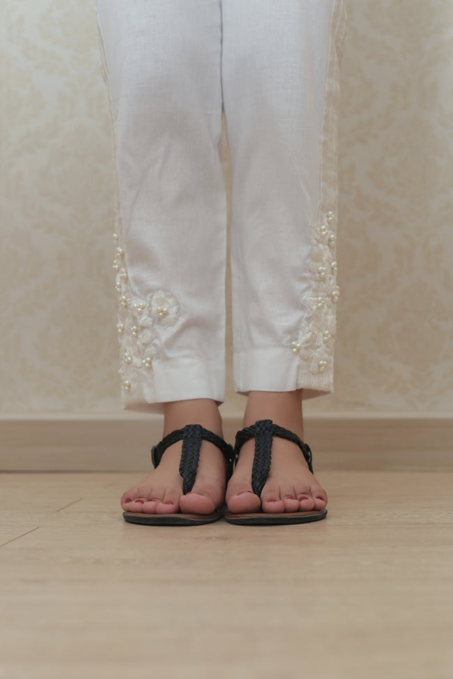 Haniyas, Embroidered Trouser | White