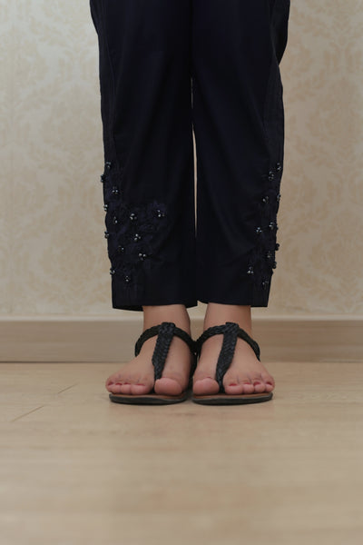 Haniyas, Embroidered Trouser | Navy