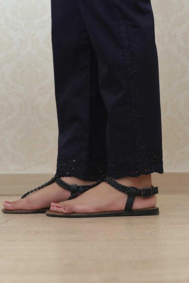 Haniyas, Crochet Lace Trouser | Navy