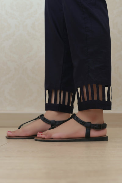Haniyas, Cutout Straight Trouser | Navy