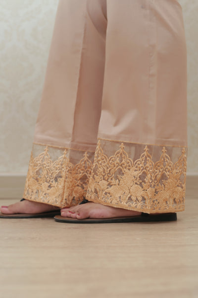 Haniyas, Bootcut Embroidered Trouser | Beige