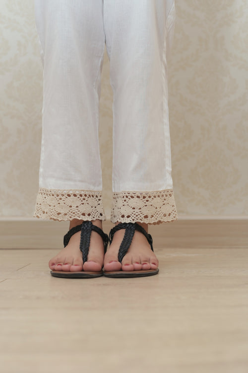Haniyas, Crochet Lace Trouser | White