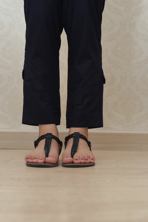 Haniyas, Scallop Edge Trouser | Navy
