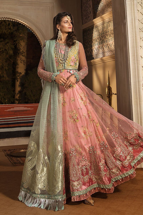 Haniyas, Maria B Mbroidered | Wedding | Daffodil Yellow and Candy Pink (BD-1802)