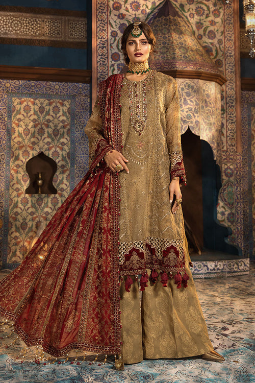 Haniyas, Maria B Mbroidered | Wedding | Brunt gold and Ruby (BD-1806)