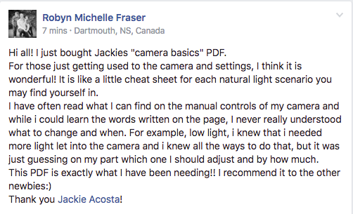 customer review Jackie Jean's Camera Basics a manual settings guide for digital photographers