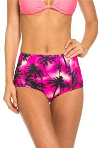 Pink Or Blue Palm Print High Waisted Bikini Bottoms