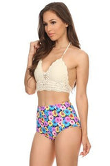 Floral  High Waisted Bikini Bottoms