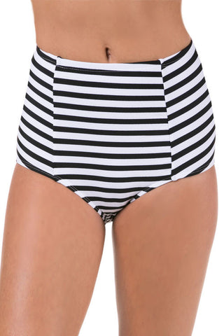 Stripped High Waisted Bikini Bottoms