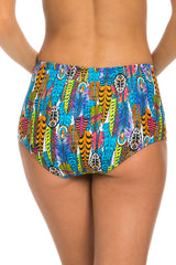 Feather Print High Waisted Bikini Bottoms