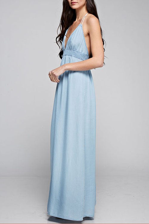 Love Stitch Halter Maxi Dress