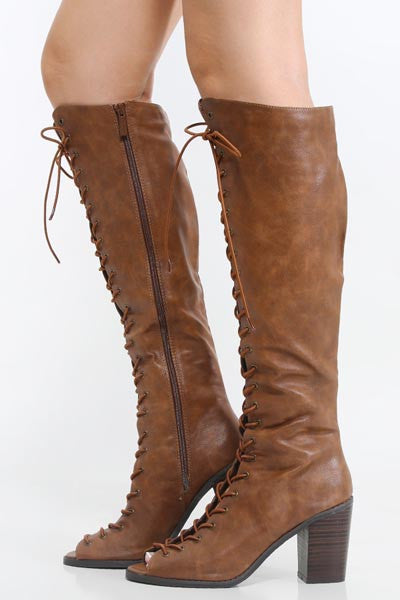 Open Front Lace Up Bootssisezbuzl