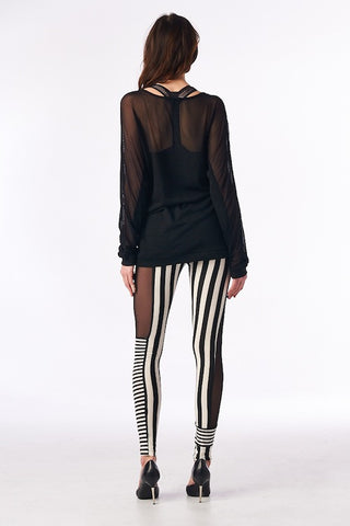 STRIPED LEGGINGS W/SHEER PANEL INSERTS