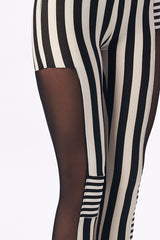 Striped black and white leggings with mesh from Sokaal.com