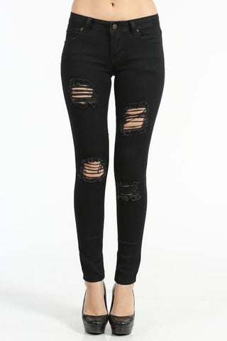 Black Distressed Denim Skinny Jeans