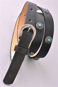 Skinny belt with silver turquoise detail