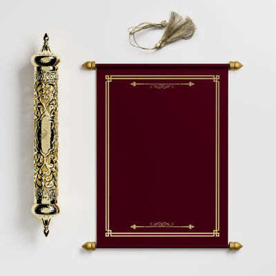 Burgundy Scroll with Gold Case