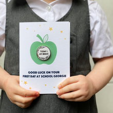 First Day At School 'Today I Am' Pin Badge Apple Card