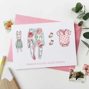 Personalised New Baby Clothes Card / Pinks And Oranges