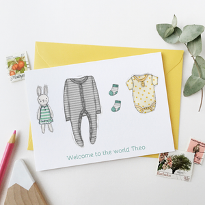 Personalised New Baby Clothes Card / Greys And Yellows