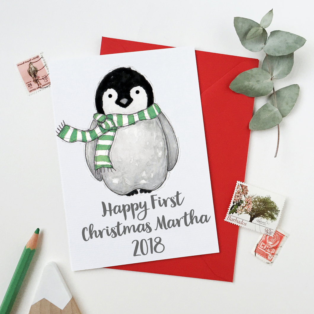 Personalised Baby Penguin First Christmas Card - Clara and Macy