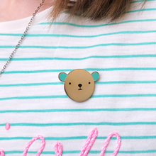 Bear Hug Turquoise Enamel Pin Badge - Clara and Macy